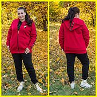 Женский спортивный теплый костюм-тройка в батале 10BR1112, фото 1