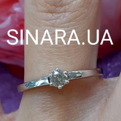 Кільце з білого золота з одним діамантом 16 р. - Перстень на заручини з діамантом р. 16