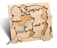 """Деревянный пазл Животные Африки, 25х22 см. ТМ """"Famby"""", Украина"""