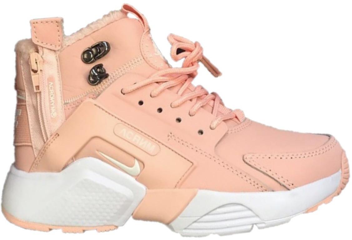 d47d6794 Женские зимние кроссовки Nike Air Huarache Acronym City MID Pink (найк аир  хуарачи высокие,