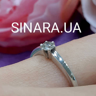 Кільце з білого золота з одним діамантом 17.5 р - Помолвочное золоте кільце з діамантом 17.5 р.