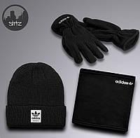 Зимний Комплект: Шапка + Бафф + Перчатки Очень Теплый и Качественный Adidas Черный
