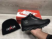 черные Теплые Зимние мужские кроссовки в стиле Jordan