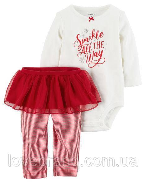 """Набор для девочки Carter's боди + штанишки-юбочка """"Sparkle all the way"""" 12 мес/72-78 см"""