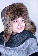 Красивая и теплая шапка-ушанка для мальчика  P-010
