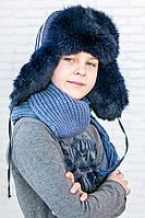 Красивая и теплая шапка-ушанка для мальчика P-040