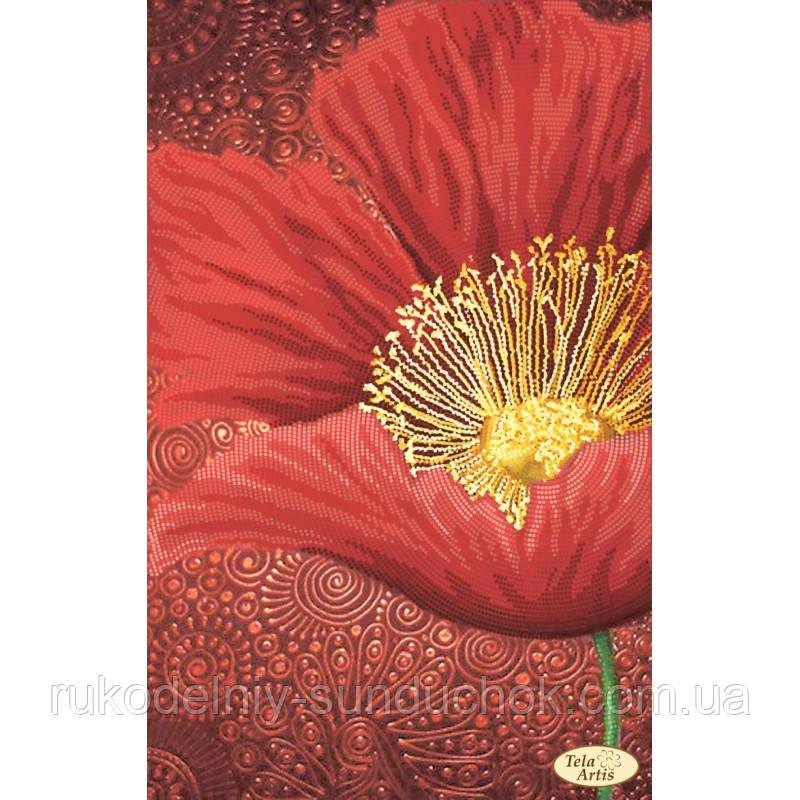Схема для вышивания бисером Tela Artis Роза Алые лепестки ТА-338
