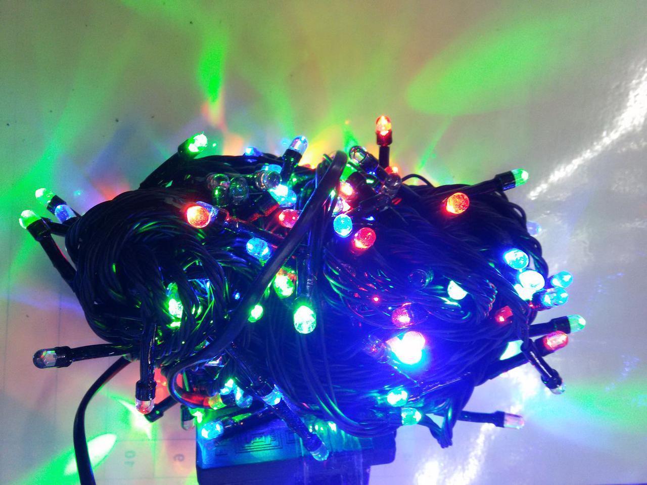 Гирлянда линза 500 LED 5mm на черном проводе, разноцветная