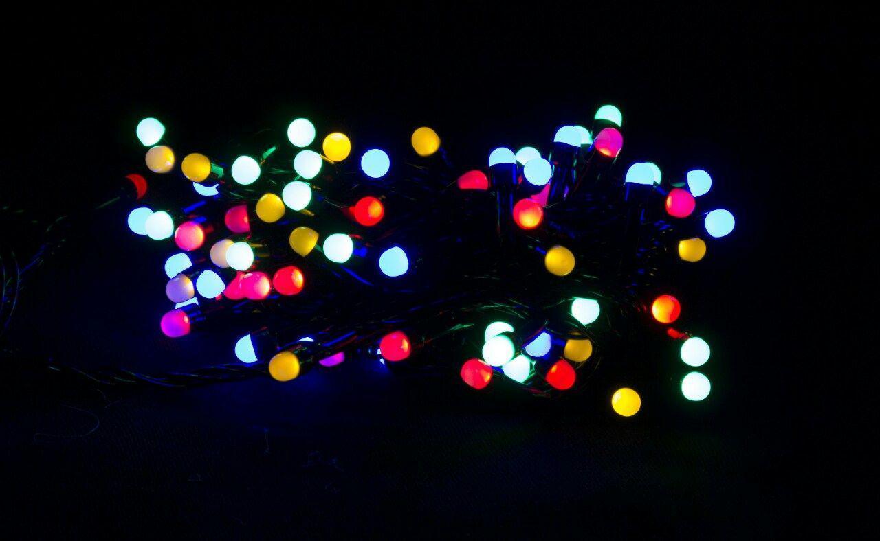 Гирлянда матовая 200 LED 5mm на черном проводе, разноцветная
