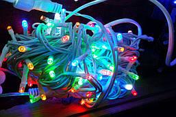Гирлянда УЛИЧНАЯ  нить(линия) 100 LED 5mm,10 метров,на Белом проводе, разноцветная