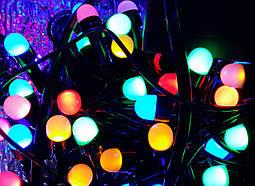 Гирлянда ягода 200 LED 8mm на черном проводе, разноцветная