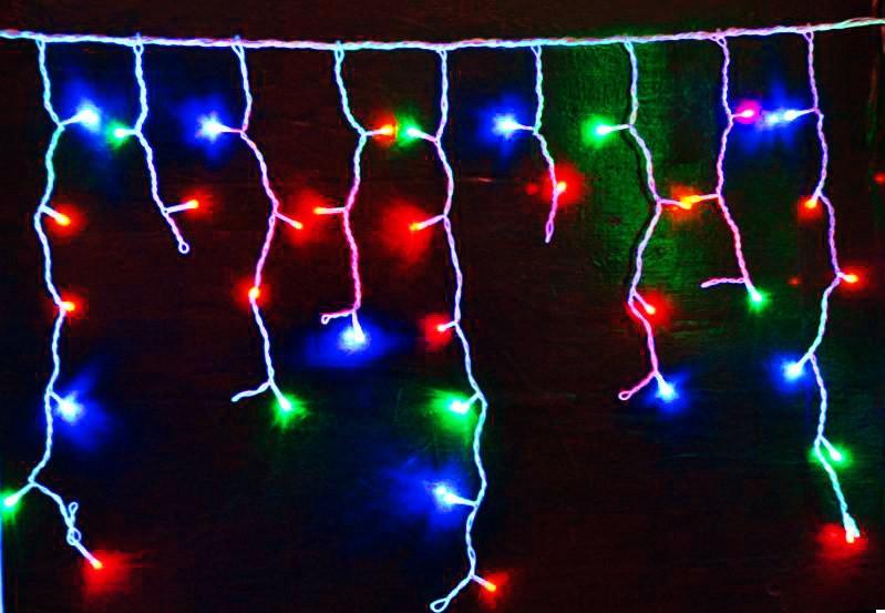 Гирлянда Бахрома (сосулька-штора) 120 LED-8mm, на черном проводе разноцветная, фото 1