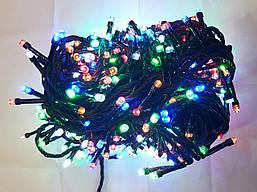 Гирлянда 300 LED 5mm, на черном проводе, Разноцветная