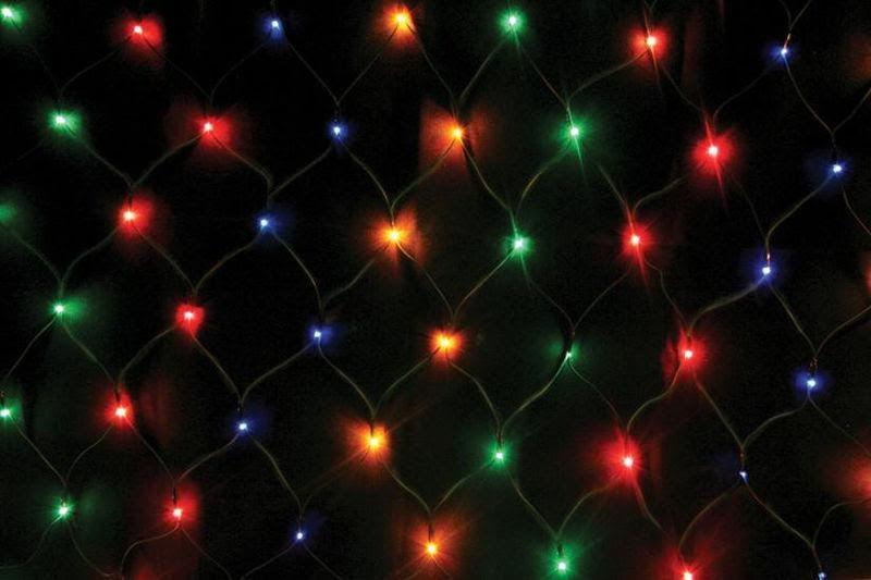Гирлянда сетка Ягодка 120 LED-8mm 1,5m*1,5m на черном проводе разноцветная