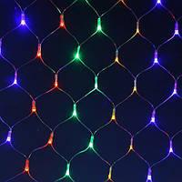 Гирлянда сетка 120 LED-5mm 1.5m*1.5m. на прозрачном проводе разноцветная