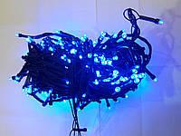 Гирлянда 200 LED 5mm, на черном проводе, Синяя