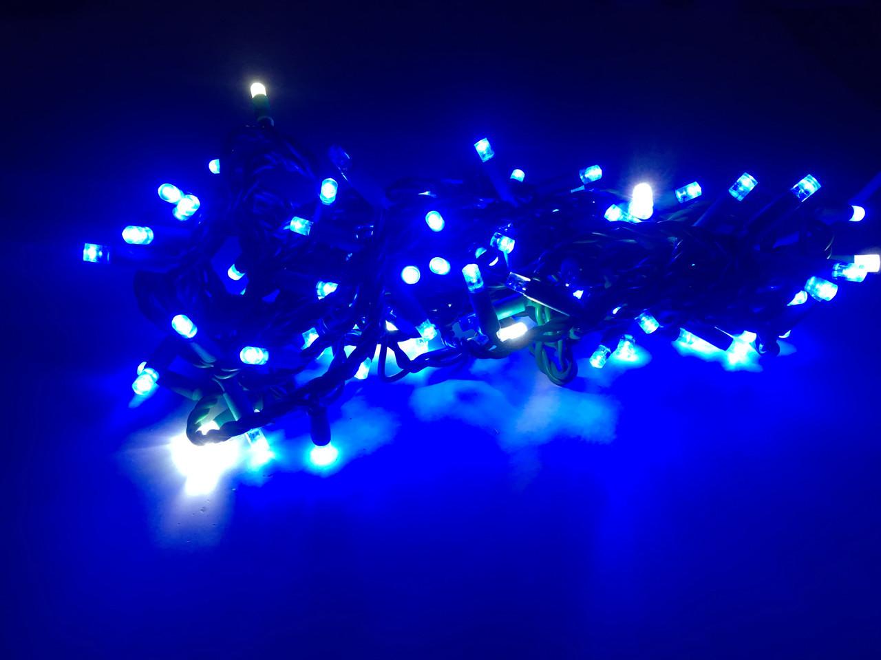 Гирлянда линза  200 LED 5mm на черном проводе, синяя