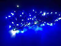 Гирлянда линза  200 LED 5mm на черном проводе, синяя, фото 1