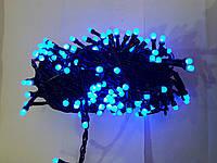 Гирлянда матовая 100 LED 5mm на черном проводе, синяя
