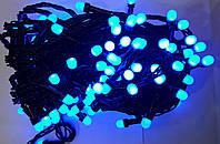 Гирлянда ягода 100 LED 8mm на черном проводе, синяя, фото 1