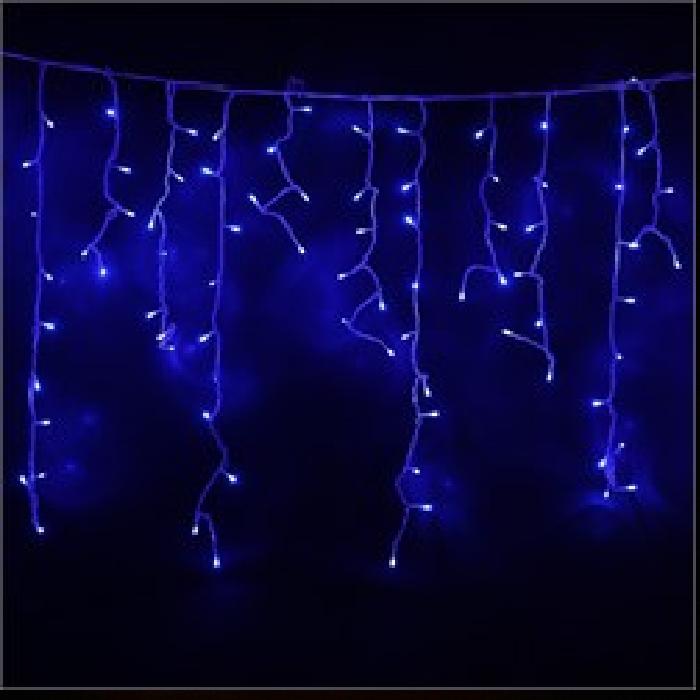 Гирлянда Бахрома (сосулька-штора) 120 LED-8mm, на черном проводе синяя