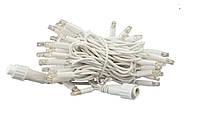 Гирлянда уличная нить (линия)  100 LED 8mm,10 метров, на белом проводе.тепло-белая
