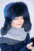 Красивая и теплая шапка-ушанка для мальчика  Р-080
