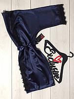 Синий женский атласный халат на 42-44