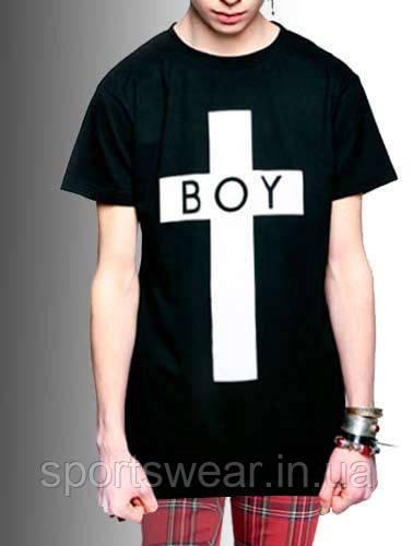 """Мужская   черная  Футболка  BOY  Бой Крест  """""""" В стиле Boy London """""""""""