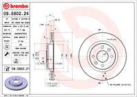 Диск тормозной передний вентилируемый Renault Symbol (Brembo 09.5802.24)