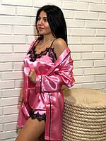 Розовый халат женский в комплекте с пижамой ТМ Exclusive