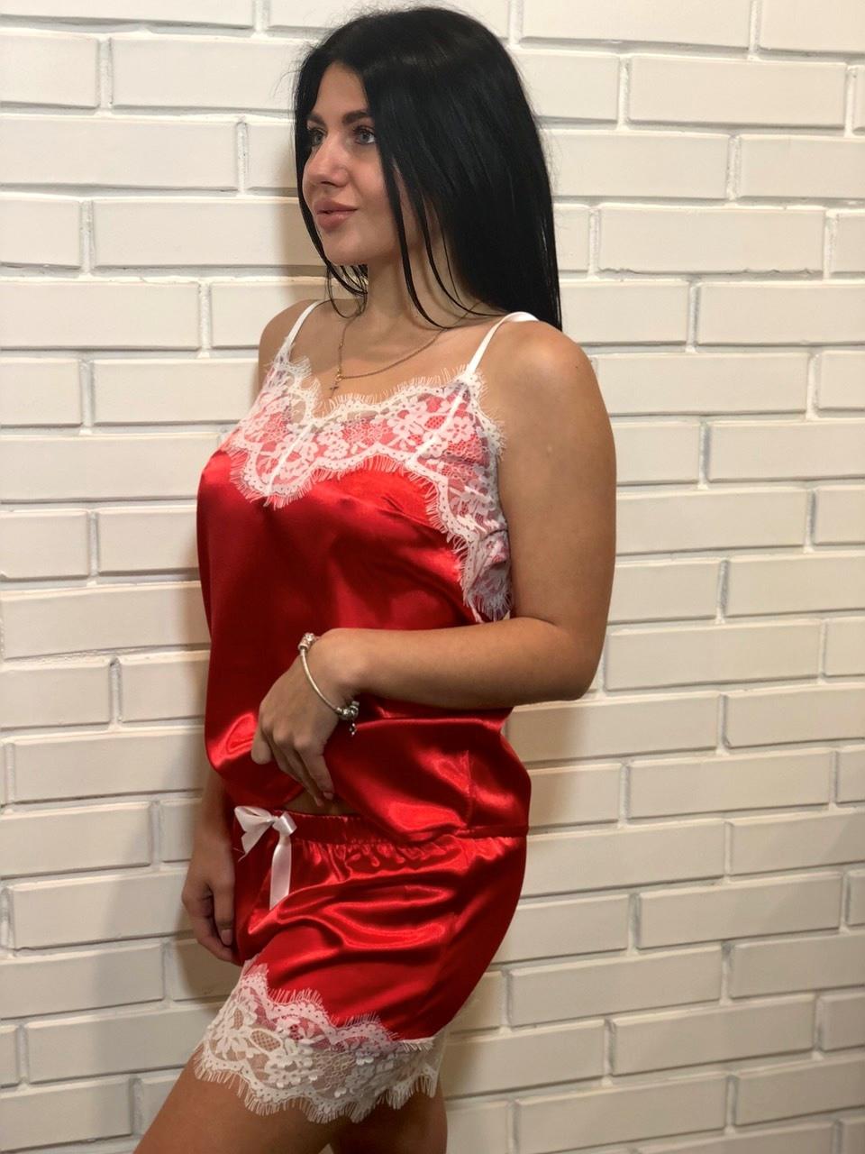Красный атласный комплект с белым кружевом ТМ Exclusive