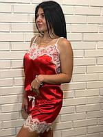 Красный атласный комплект с белым кружевом ТМ Exclusive, фото 1