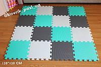 Игровой коврик пазл в детскую 120*120 см (16 шт, мятный, белый, серый)