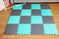 Игровой коврик пазл в детскую 120*120 см (16 шт, мятный, серый)