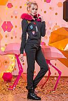 8bf7a31524d Темно-серый стильный теплый женский спортивный костюм из букле с  натуральным мехом на капюшоне. Арт-4328 21