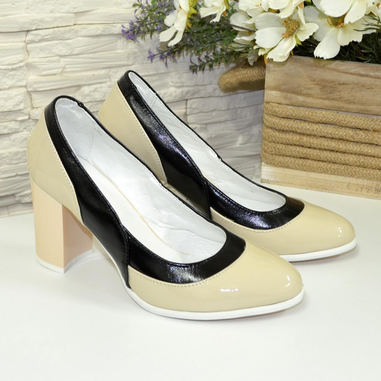 Женские туфли из натуральной лаковой кожи на высоком каблуке, цвет бежево-черные