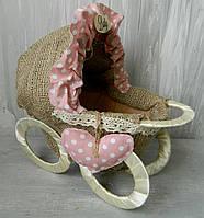 Декоративний візок дитячий в горох малий мішковина 22*25см