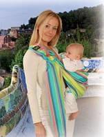 Слинг  для переноски детей №16 Hug Me Zafiro Womar ( разноцветные полоски)