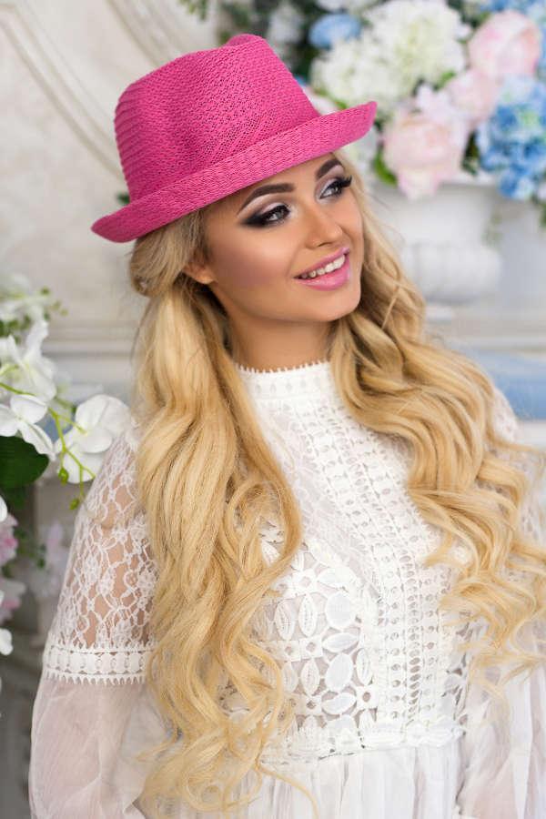 Соломенная шляпа-федора «Дарлин» (малиновый)