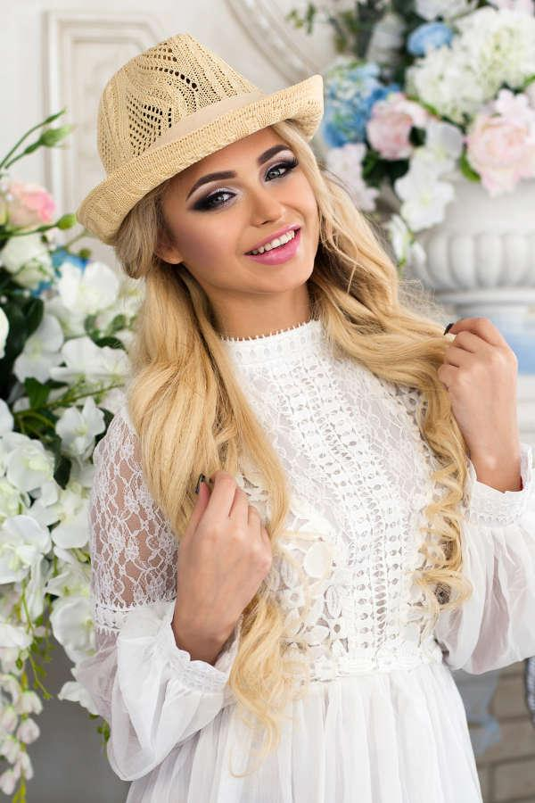 Соломенная шляпа-федора «Берта» (светло-бежевый) Braxton