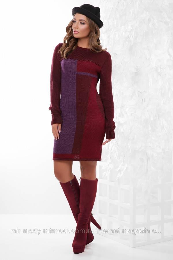 Платье 157 марсала-фиолетовый-бордовый  с 44 - 48 размер универсальный (вст)