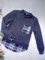 Рубашка-обманка на девочку, трикотаж ангора, размер 128-152, синий