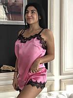 Молодежный шелковый комплект для дома с кружевом, розовый., фото 1