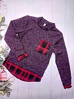 Рубашка-обманка на девочку, трикотаж ангора, размер 128-152, бордо