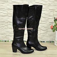 Ботфорты кожаные женские демисезонные на каблуке, классический пошив