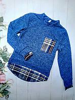 Рубашка-обманка на девочку, трикотаж ангора, размер 128-152, электрик