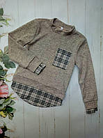 Рубашка-обманка на девочку, трикотаж ангора, размер 128-152, бежевый