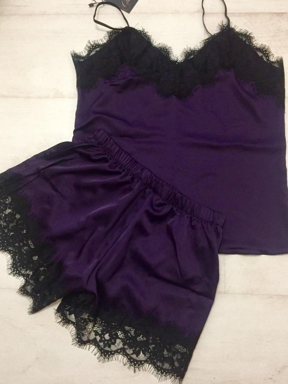 Женская шелковая пижама темно фиолетовая 002