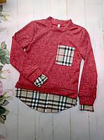 Рубашка-обманка на девочку, трикотаж ангора, размер 128-152, красный
